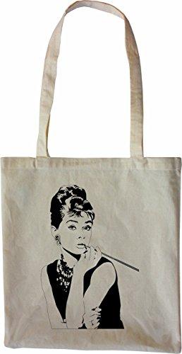Mister Merchandise Tasche Audrey Hepburn Stofftasche , Farbe: Natur