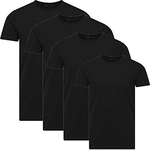 Basic Tee (JACK & JONES Herren 4er Pack Basic T-Shirt V-Ausschnitt Rundhals Einfarbig Slim Fit Weiß Schwarz Blau Grau Mix S,M,L,XL,XXL (L, Schwarz 4er Pack O-Neck ohne Wäschesack))