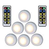 EBILUN Kabellos LED Puck Licht W/Fernbedienung dimmbare Nachtlicht Lampe 6pcs