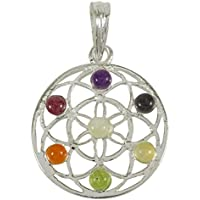 Harmonize Metall 7 Chakra Multistone Blume des Lebens Anhänger Spiritual Reiki Kristall Edelstein preisvergleich bei billige-tabletten.eu