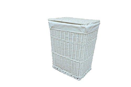 White wicker laundry basket clothes washing storage hamper bin bag box lining - White wicker clothes hamper ...