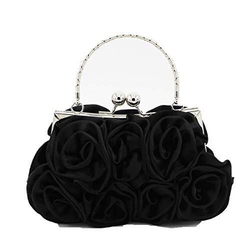 KEEVICI Rose Abendtasche Weiße Blume Clutch Taschen für Damen Abend Geldbörsen Handtasche (Schwarz) - Weiße Satin Blume Handtasche