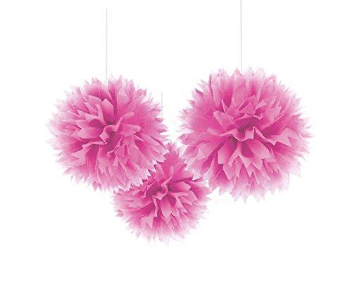 - Hängedekoration - Pom Pom, 3 Stück, circa 40.6 cm, rosa (Mens Fancy Dress Rosa)