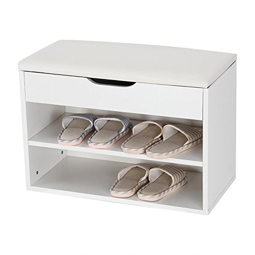 Gototop scarpiera panca,portascarpe con cuscino,scaffale di stoccaggio dell'armadio di stoccaggio delle scarpe dello sgabello del cuscino di scarpa,bianco (60 * 30 * 43cm)