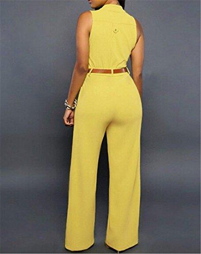 Plunge V Cou Des Femmes Ceinture Combinaisons A Jambes Larges Robe Barboteuses Taille Haute Pantalon Jaune