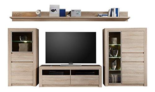 trendteam Wohnzimmer 4-teilige Set Kombination Sevilla, 342 x 156 x 51 cm in Eiche Sägerau Hell Dekor mit LED Glasbodenbeleuchtung in Warm Weiß
