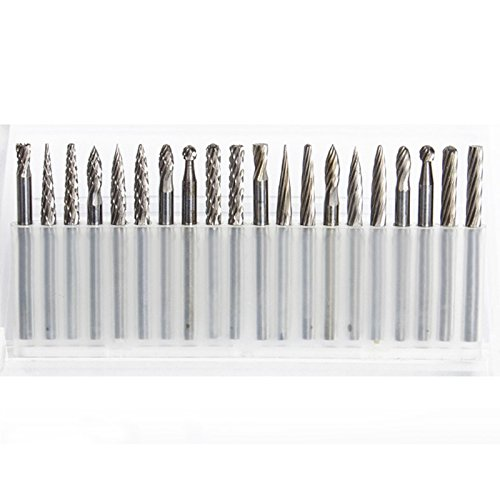 TOOGOO 20 stuecke 3mm Schaft Wolfram Stahl Vollhartmetall-rotierfeilen Diamantfraeser Set Passt Werkzeug fuer Holzbearbeitung Bohren Carving Gravur