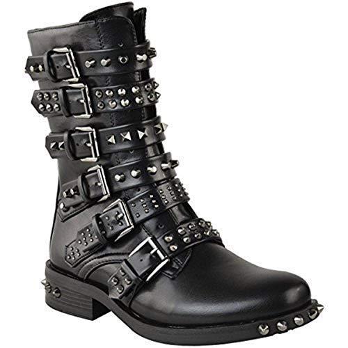 Damen Ankle Boots im Biker-Stil - mit Nieten, Riemen & Schnallen - flach - Schwarz Kunstleder - EUR 36