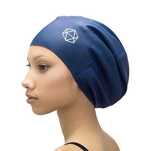 SOUL CAP XL – extra große Badekappe/Schwimmkappe / Bademütze/Duschhaube | für langes Haar, Dreadlocks, Weaves, Extensions, Rastazöpfe, Locken & Afrohaare | für Frauen und Männer | 100% Silikon (Blau)