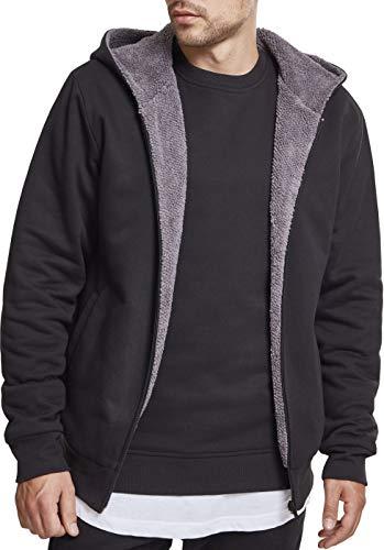Urban Classics Herren Sherpa Lined Zip Hoodie Sweatjacke, Mehrfarbig (Black/Grey 01198), 5XL -