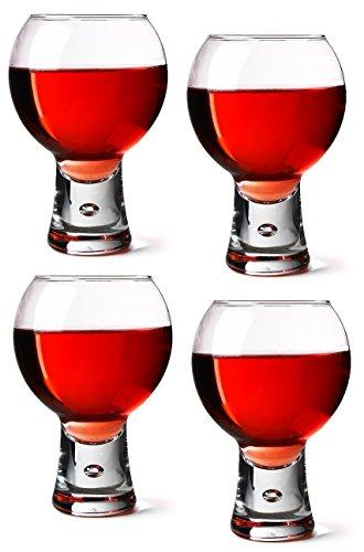 Durobor Alternato 410 ml-Lot de 4 Verres à vin rouge et court avec bulle Base