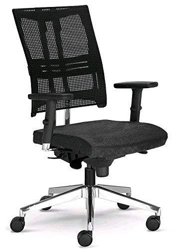 Nowy Styl Net Motion Bürostuhl mit 3D Armlehnen Schwarz ohne Kopfstütze -