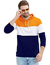 LEWEL Men Cotton Hooded Neck Full Sleeve Color Blocked T-Shirt (Orange, White, Blue)