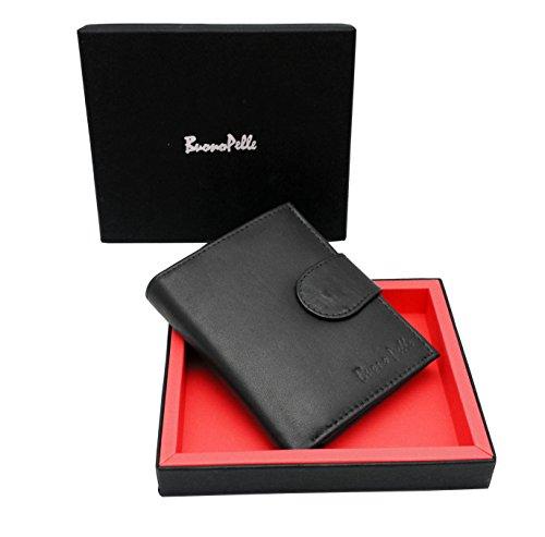 Buono Pelle - Cartera Para hombre, de piel auténtica de alta calidad, en caja de regalo (negro)