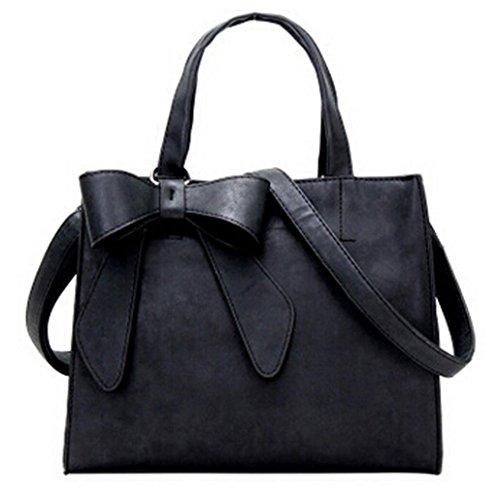Kangrunmy borse tracolla bianche,moda donna carino bow borsetta crossbody spalla borse (nero)