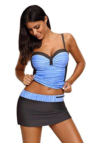 Aleumdr Tankinis Damen Bikini-Set Streifen Frauen Swimwear Beachwear mit Oberteil und Rock Hellblau Schwarz S (Tankini Damen Badeanzug)