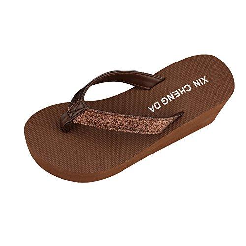 Longra Donna polvere d'oro pantofole signore della cinghia della spiaggia Marrone
