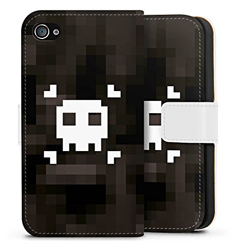 Apple iPhone X Silikon Hülle Case Schutzhülle Pixel Piraten Totenkopf Sideflip Tasche weiß