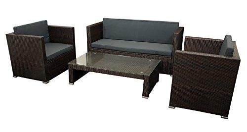 DEGAMO Lounge Set Bari 4-teilig, Stahl + Polyrattan Geflecht braun, mit Polstern braun