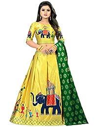 7164b5caf8 crystal creation Women's Satin Heavy Jari Digital Printed Lehengha Choli ( Yellow, Free Size)