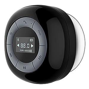 VTIN Relaxer Altoparlante Bluetooth 4.0 Speaker da Doccia con Microfono Incorporato Radio FM Schermo LCD Ventosa per Doccia/Bagno/Casa/Esterno Compatabile con iPhone e Android Smartphone, Nero