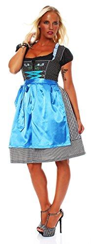 Costume pour femme 3 10619 fashion4Young mini robe tablier tlg.trachtenkleid chemisier costume fête de la bière (oktoberfest) Bleu - Blau Schwarz