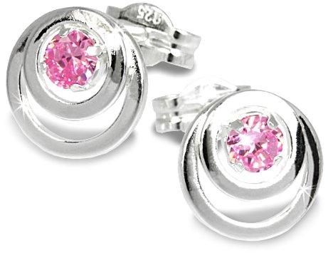 SilberDream Damen-Ohrringe Kreise Zirkonia rosa 925er Sterling Silber SDO542A (Rosa Stein Modeschmuck)