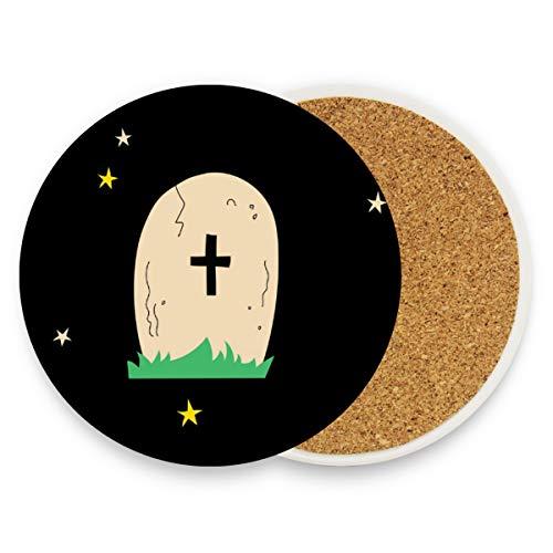 MONTOJ Happy Halloween Tomb Cup Mat Untersetzer für Getränke, einzigartiges Geschenk für Freunde, saugfähige Untersetzer für Getränke, Holz, 1, 4 pieces set