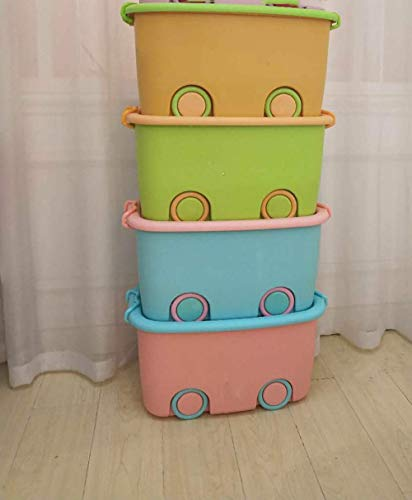 MosQuick® Set of 4 Actual Big Size Plastic Stackable Organizer Storage Box with Wheels & Container Bin with Lid and Wheels for Kids Toys, Clothes - Blue, Green, Pink, Orange