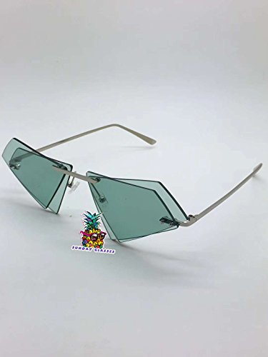 Rimless HEXAGON Double-shaped Sunglasses for Percy Lau Xander Zhou Glasses-Silver frame green lens
