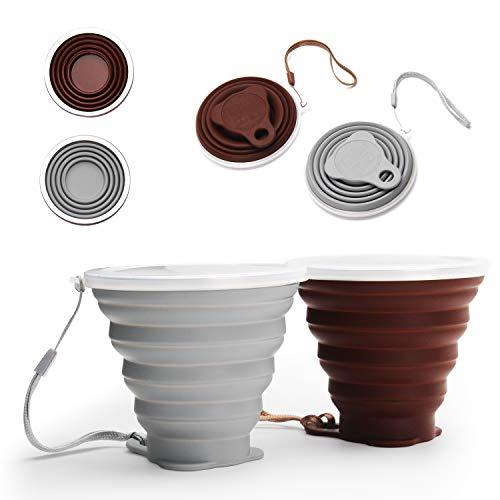 DEHUB Mug à café Portable, Coupe de Voyage légère,FDA et BPA sans Mug à café Portable,Plus Grande capacité 270ML Tasse de Voyage Pliable en Silicone, 2pièces