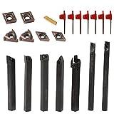 KKmoon 21PCS Tornio Turning Tool Multifunzione in Metallo Duro Inserti Titolari Bar Alesatore con Chiavi per Tornio Utensili Supporto Dell'Utensile con Inserti in Carburo