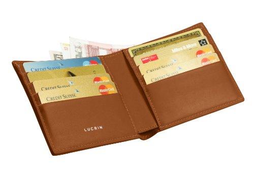 Lucrin - Portefeuille luxe - Cuir Lisse cognac