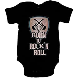 Body bebé Born To Rock and Roll nacido para el Rock and Roll - Negro, 6-12 meses