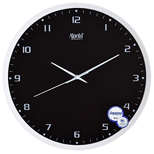 Ajanta Fancy And Designer Wall Clock For Home, Offices, Bedroom, Living Room And Kitchen (31 Cm X 31 Cm , Silent Movement, White Black)