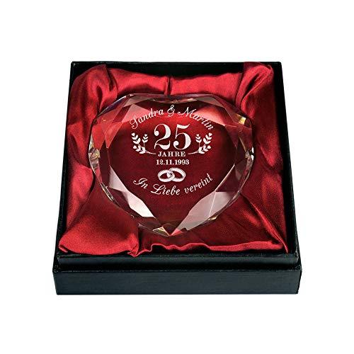 (Gravado Kristall aus Glas in Herzform mit Gravur zur Silbernen Hochzeit – Ringe – Personalisiert mit [Namen] und [Datum] –Briefbeschwerer – Geschenkidee zum 25. Hochzeitstag – Dekoration)