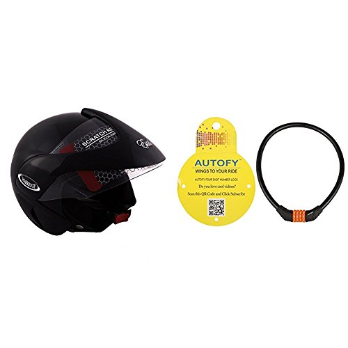 Autofy Habsolite Estilo Glossy Flip Up Helmet (Black, M) and Autofy 4 Digits Universal Multi Purpose Steel Cable (Black and Orange) Bundle