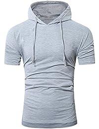 VEMOW Männer Sommer Mode Lässig Täglichen Arbeit Strand Mit Kapuze Pullover  Herren Kurzarm T-Shirt Pulli… 939f93b84f