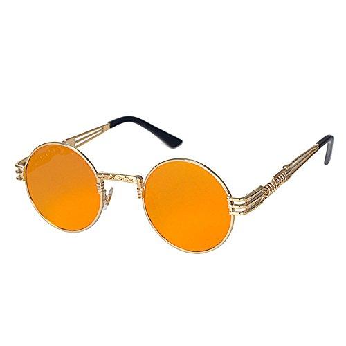 WooCo Sonnenbrillen und Anti-Druck-Brillen Fall für Herren Damen Runde Vintage gespiegelt...