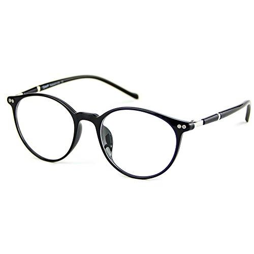 Cyxus TR90 licht flexibel blaue licht blockieren brille bildschirmbrille schützt die augen [transparente linse] anti augen ermüdung Besserer Schlaf (licht flexibel schwarzer runder rahmen)