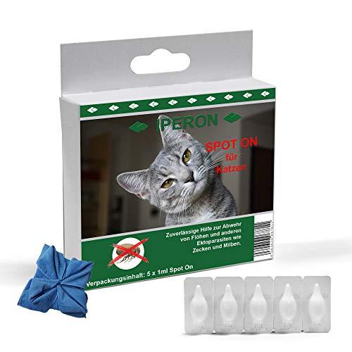 Lyra Pet® 5 x 1 ml IPERON Spot-ON für Katzen Zecken Flöhe Milben + Microfasertuch
