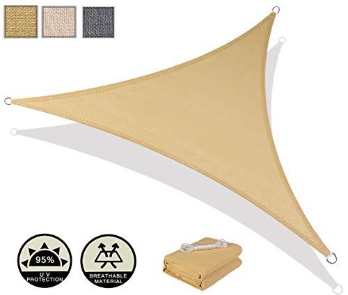 AXT SHADE Toldo Vela de Sombra Triangular 5 x 5 x 5 m, protección Rayos UV y HDPE Transpirable para Patio, Exteriores, Jardín, Color Arena