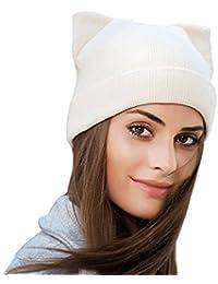 d689e215a505 GWELL Bonnet Femme Tricoté en Laine et Cachemire Chapeau Polaire Chaud Hiver  en Forme d