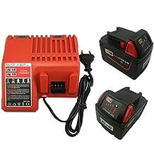 4X 18V 3000mAh batería + 1X Cargador Reemplace Milwaukee M18 M18B4 M18 XC 48-11-1828 48-11-1840 C18B M18BX Li18