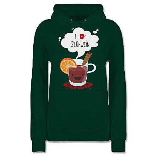 Weihnachten & Silvester - I Love Glühwein glückliche Tasse - XXL - Dunkelgrün - JH001F - Damen Hoodie (Kaffee-tassen Grüner Berg)