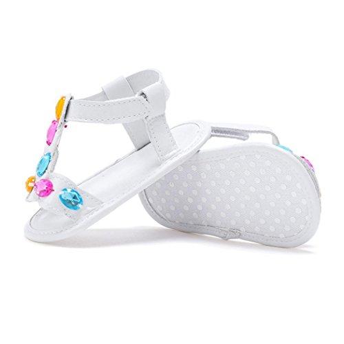 Saingace Bébé Fille Chaussures de Berceau Chaussons de Sport Antidérapants pour Bébé Sandales d'été (5.1inch/9-12 mois, Or) Blanc