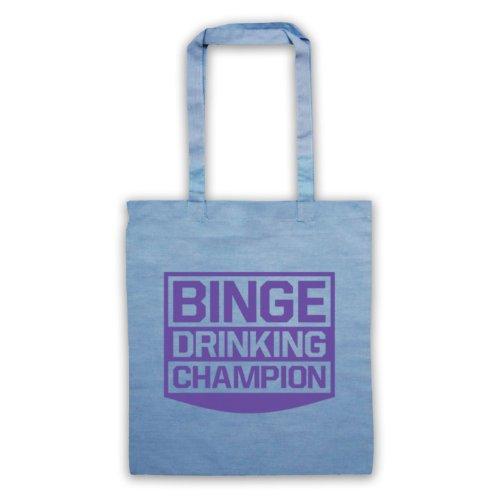 Drinking Binge Champion Funny Slogan Tote Bag Azzurro