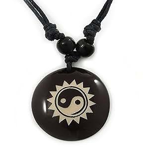 """Pendentif cordon de coton """"Yin/Yang"""" médaille résine blanche/noir unisexe"""
