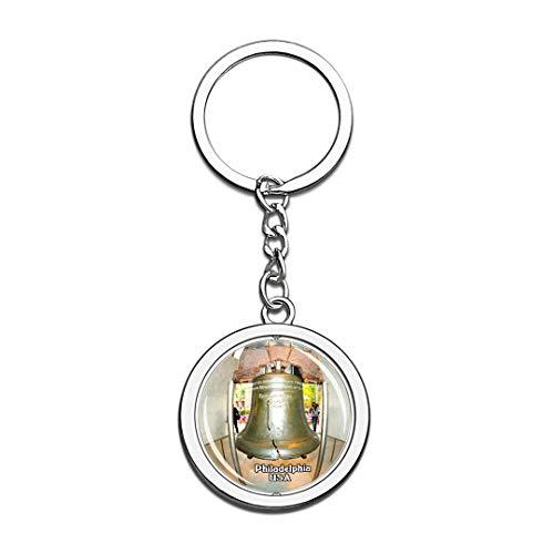 Schlüsselbund Liberty Bell Philadelphia Vereinigte Staaten USA US Schlüsselbund Kristall Drehen Rostfreier Stahl Schlüsselbund Andenken Schlüsselanhänger