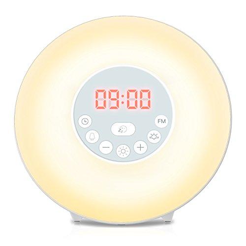Wecker Wake Up Light Lichtwecker Coulax Tageslichtwecker, 6 Natural Sounds, 7 Auto LED Farben,10 Dimmstufen, FM Radio Digitaluhr mit Licht, Intelligente Sonnenaufgang Simulator, Touchscreen Nachtlicht Wecker für Kinder und Erwachsene